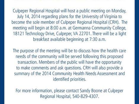 Important Public Meeting regarding Culpeper Regional Hospital